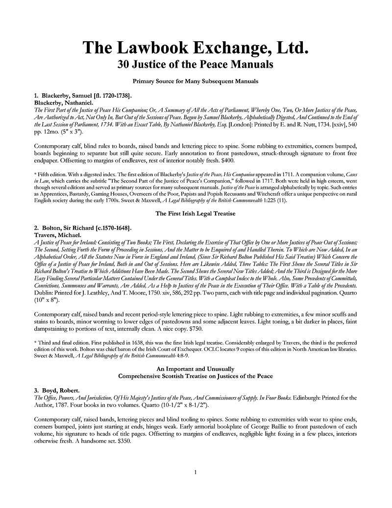 30 Justice of the Peace Manuals