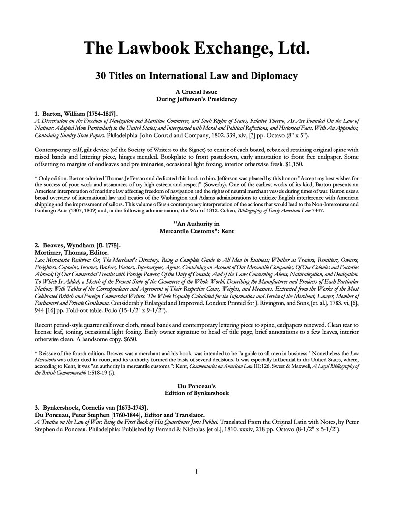 30 Titles on International Law and Diplomacy