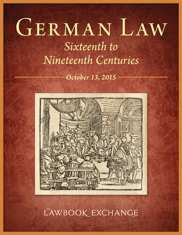 German Law, Sixteenth to Nineteenth Centuries