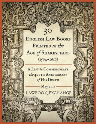 30 English Law Books Printed in the Age of Shakespeare (1564-1616):