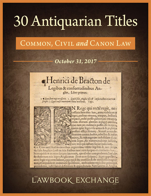 30 Antiquarian Titles: Common, Civil and Canon Law