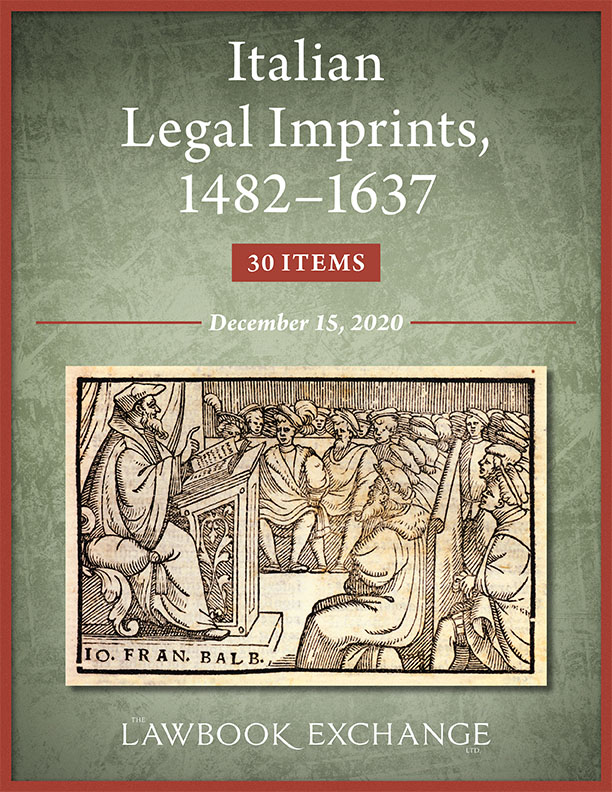 Italian Legal Imprints, 1482–1637: 30 Items