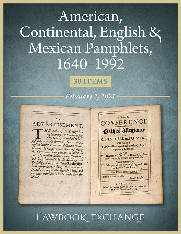 American, Continental, English & Mexican Pamphlets, 1640–1992: 30 Items