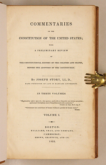 Commentaries On The Times: Commentaries On The Constitution Of The United States, 1st