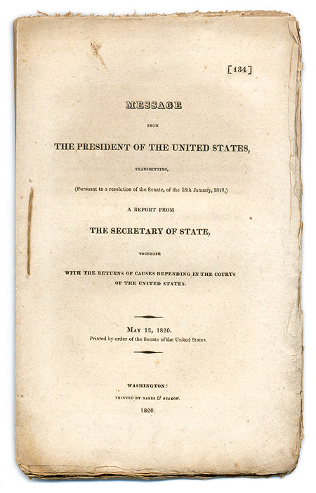 ADAMS, JOHN QUINCY - Message from the President of the United States, Transmitting. .