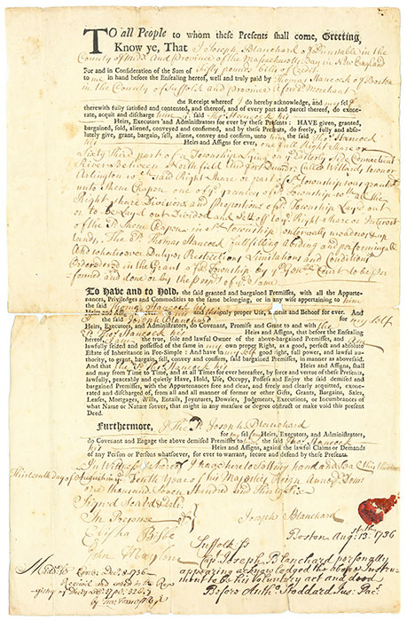 DEED OF SALE; HANCOCK, THOMAS, BLANCHARD, JOSEPH - To All the People to Whom These Presents Shall Come, Greeting, Know. .