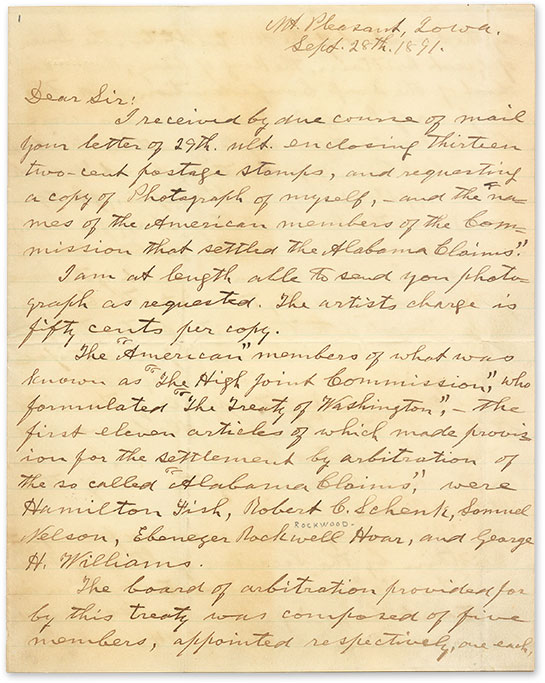 MANUSCRIPT; HARLAN, JAMES; ALABAMA CLAIMS - Autograph Letter, Signed, Mt. Pleasant, Iowa, September 28, 1891