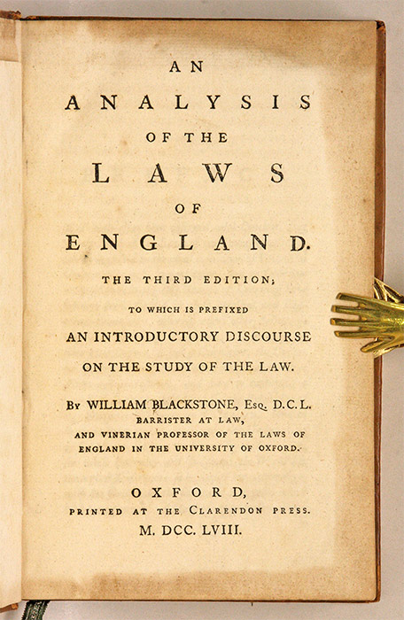An Analysis of the Laws of England  To Which Is Prefixed an   by Sir  William Blackstone on The Lawbook Exchange, Ltd