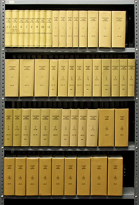 Hastings Law Journal. Vols. 1 to 43 (1949-1992). Hastings College of Law University of California.