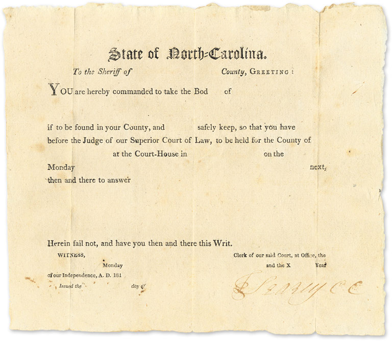"Writ of Attachment. 1810. 6-1/2"" x 7-1/2"" Legal Form North Carolina."