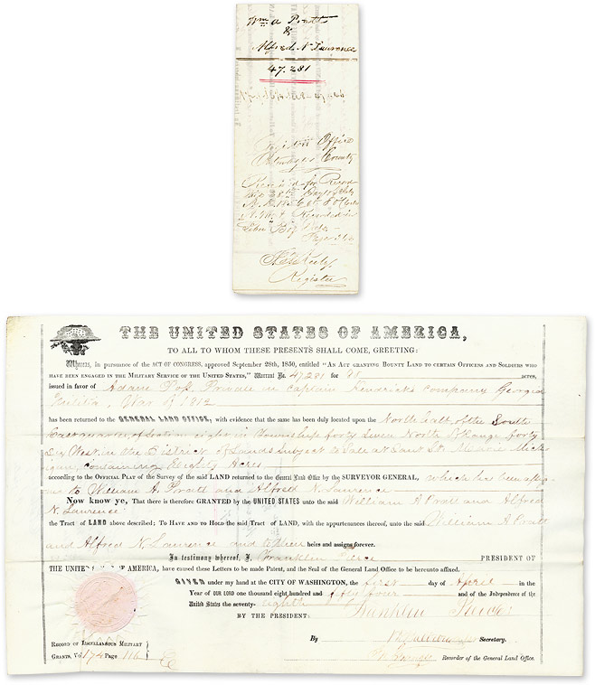 Signed Document Reassigning Bounty Land Originally Granted for. United States, General Land Office.
