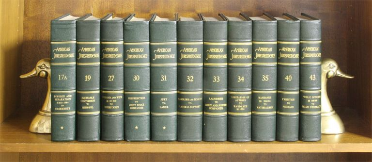 American Jurisprudence [1st series]. 11 vols. Lawyers Cooperative Publishing Co.