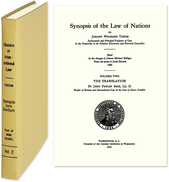 Synopsis of the Law of Nations. Johann Wolfgang Textor.