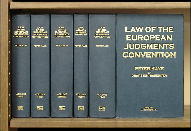 Law of the European Judgments Convention. 5 vols. Peter Kaye.