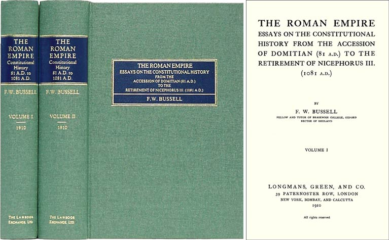 The Roman Empire. Essays on the Constitutional History from the. F. W. Bussell.