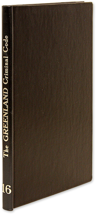 The Greenland Criminal Code. Introduction by Dr. Verner Goldschmidt. Dr. Verner Goldschmidt, Introduction.