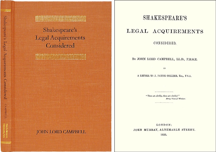 Shakespeare's Legal Acquirements Considered. Baron John Campbell.