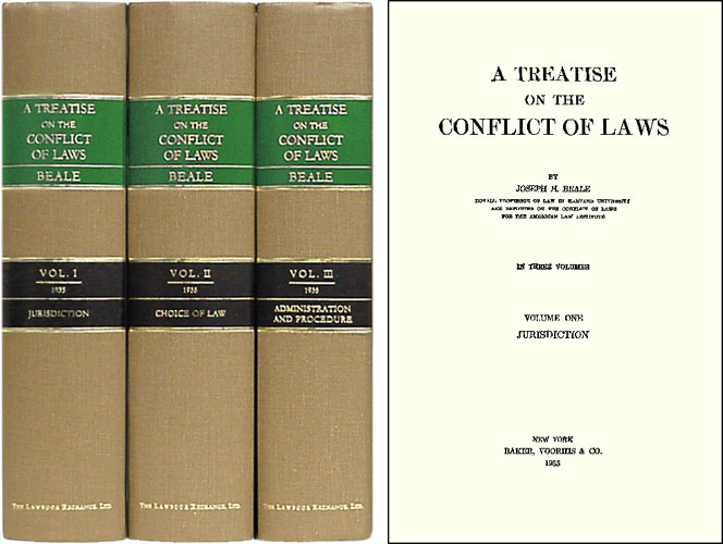 A Treatise on the Conflict of Laws. 3 Vols. 1st ed. Joseph H. Beale.