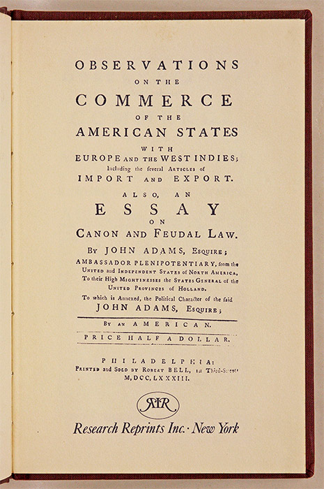 Observations on the Commerce of the American States with Europe and. John Adams.