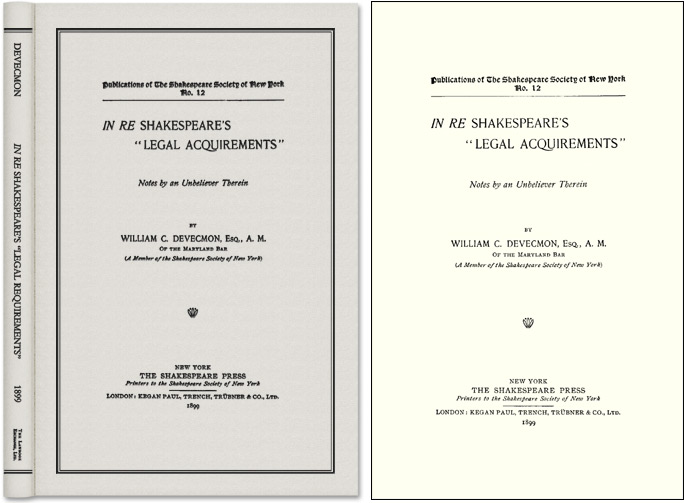 """In Re Shakespeare's """"Legal Acquirements"""": Notes by an Unbeliever. William C. Devecmon."""