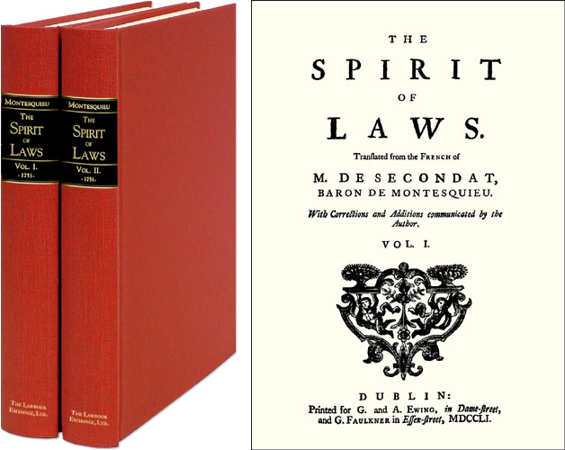The Spirit of Laws. Translated from the French. With Corrections. Charles-Louis de Secondat Montesquieu, Baron de.