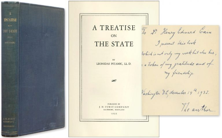 A Treatise on the State. Inscribed by the author. Leonidas Pitamic.