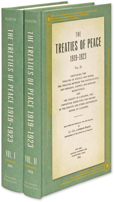 The Treaties of Peace, 1919-1923. Maps Compiled Especially for This. Lawrence Martin.