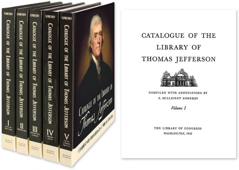 Catalogue of the Library of Thomas Jefferson. 5 Vols. Reprint. compiled, annotations.