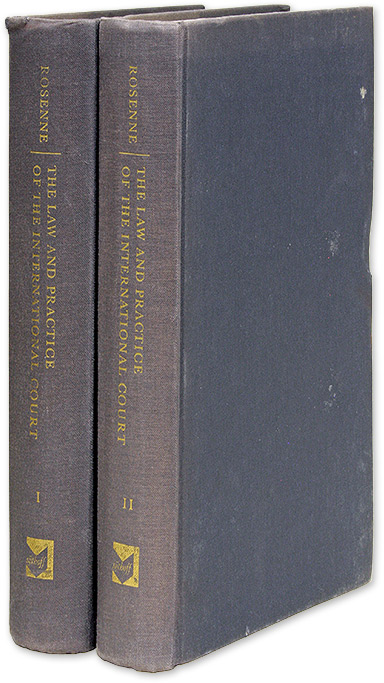 The Law and Practice of the International Court. 2 Vols. Inscribed. Shabtai Rosenne.