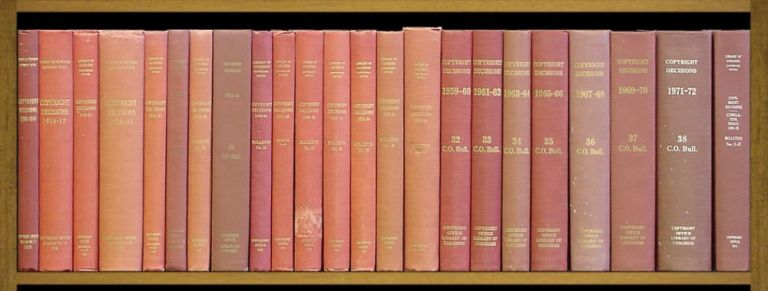 Copyright Decisions. 1909 to 1971-72, in 22 bks w/Cum Index 1909-1970. United States Copyright Office.