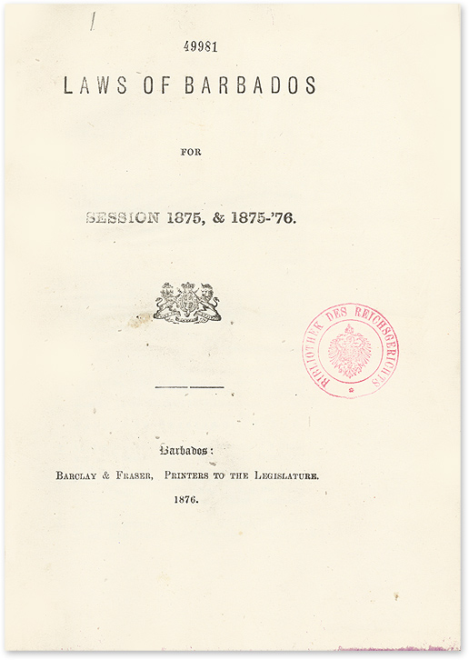 Laws of Barbados for Session 1875-79, 1881-82, 1889-90. Barbados.