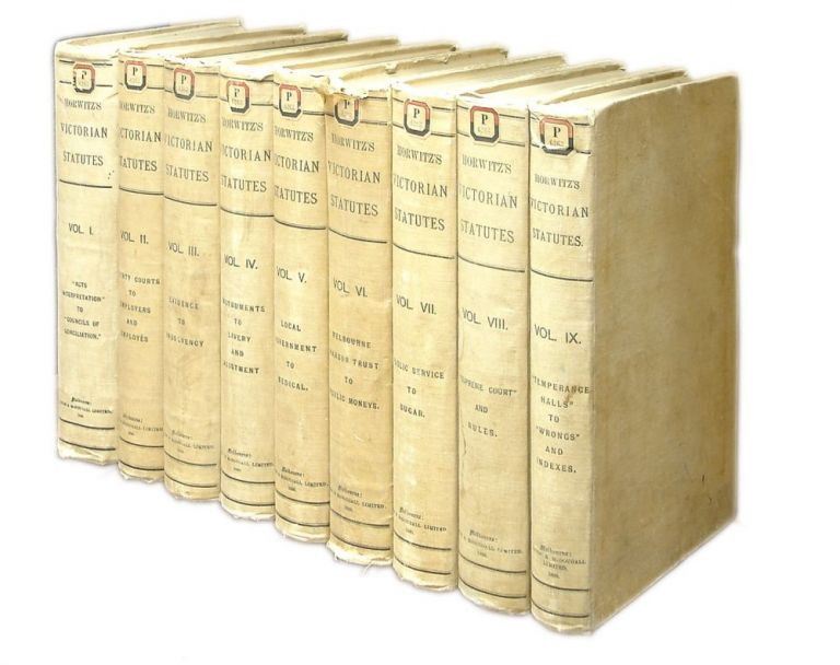 The Victorian Statutes, Arranged in Alphabetical and Chronological. Louis Horwitz, Compiler.