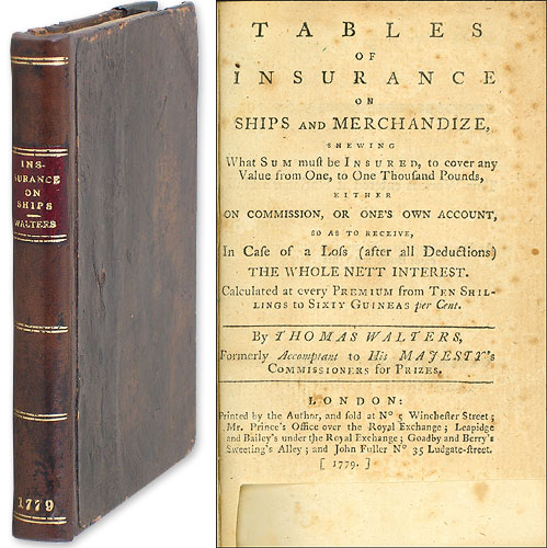 Tables of Insurance on Ships and Merchandize, Shewing What Sum. Thomas Walters.