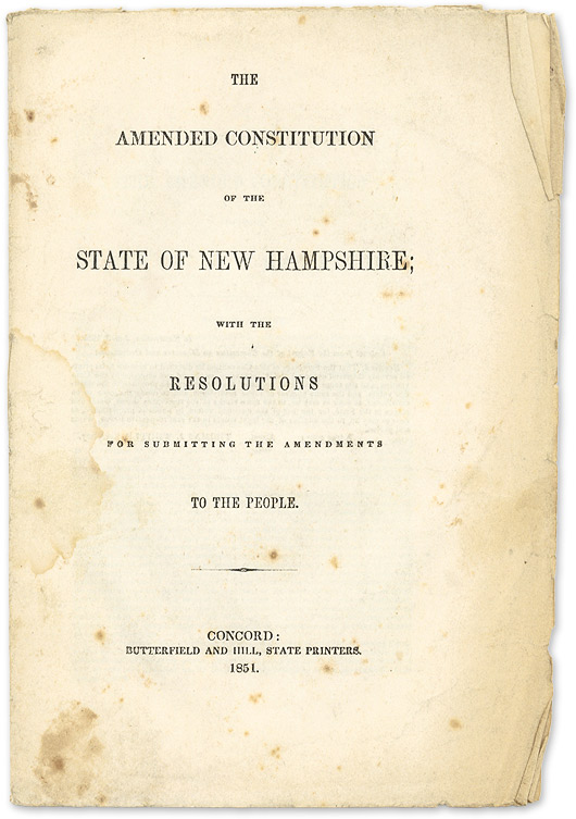 The Amended Constitution of the State of New Hampshire; with the. New Hampshire.