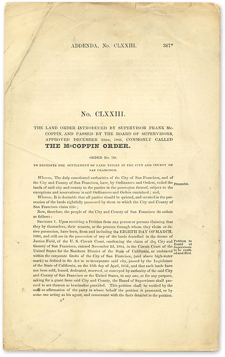 No. CLXXIII. The Land Order Introduced by Supervisor Frank McCoppin. San Francisco Land Titles, McCoppin Order.