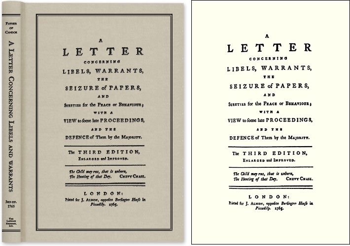 A Letter Concerning Libels, Warrants, The Seizure of Papers, and. John Father of Candor. Almon, Attributed.