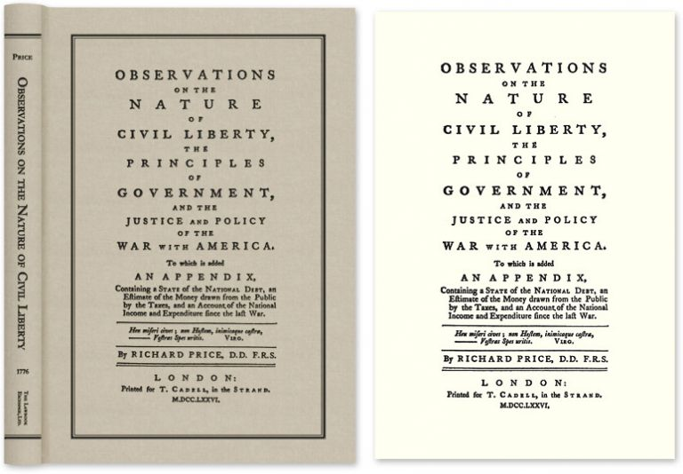 Observations on the Nature of Civil Liberty, The Principles of. Richard Price.