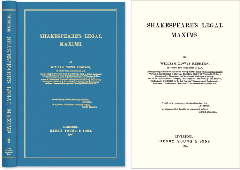 Shakespeare's Legal Maxims. William Lowes Rushton.