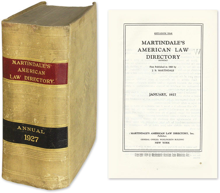 Martindale's American Law Directory Annual   January, 1927 by Legal  Directory on The Lawbook Exchange, Ltd