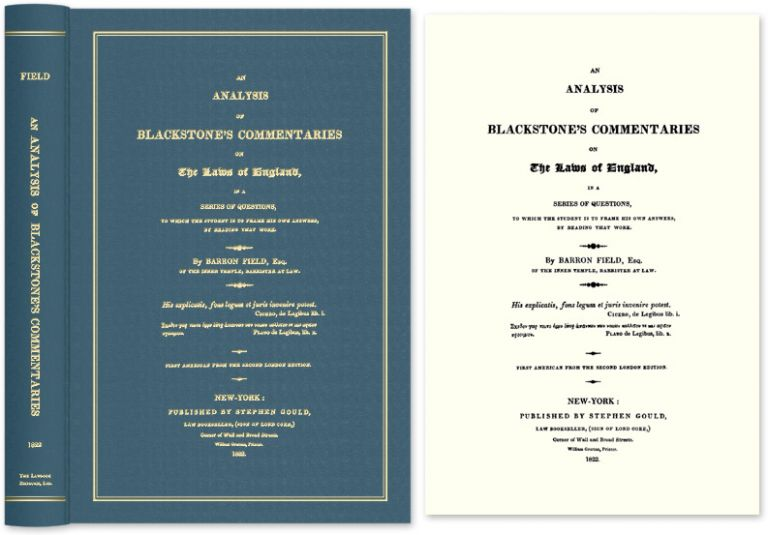 An Analysis of Blackstone's Commentaries on the Laws of England in. Barron Field, Sir William Blackstone.