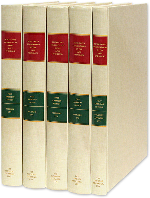 Commentaries on the Laws of England. 1st American ed w/Appendix 5 Vols. Sir William Blackstone, Philadelphia Robert Bell.