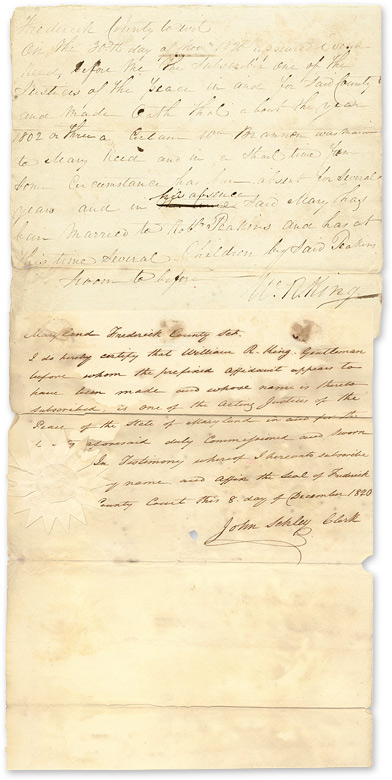 Frederick County to Wit. On the 20th day of November 1820 Appeared. Manuscript, Maryland, John Schley William R. King.