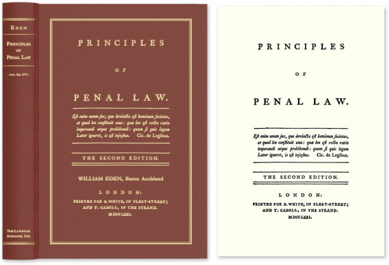 Principles of Penal Law. The Second edition. William Eden.