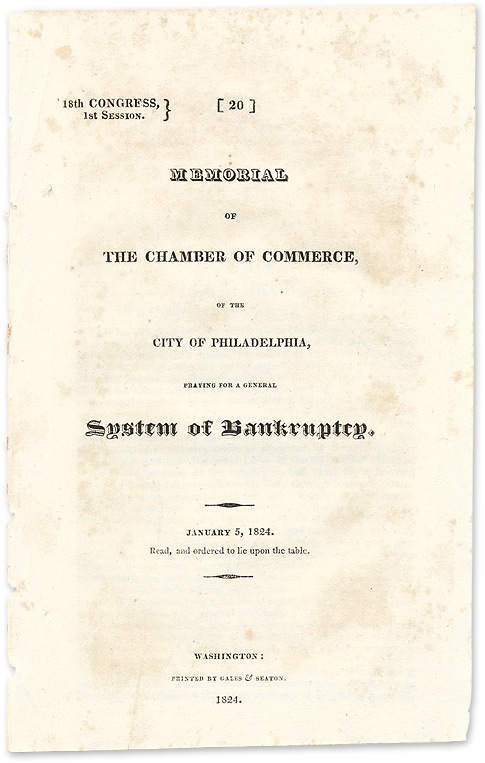 Memorial of the Chamber of Commerce of the City of Philadelphia. Robert. Bankruptcy Ralston.