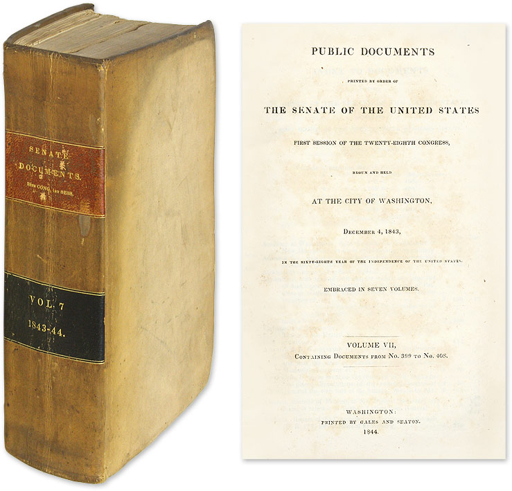 Public Documents Printed by Order of the Senate [First Session, 1843]. United States Senate.