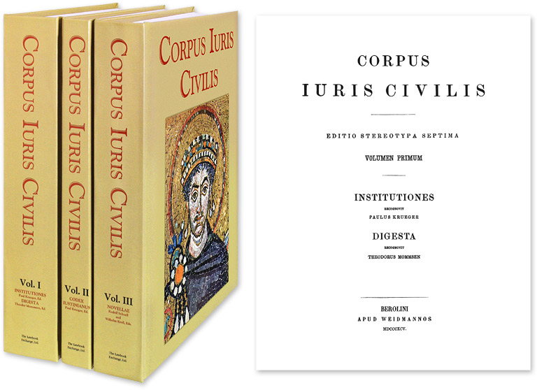 Corpus Iuris Civilis [Juris]. 3 Vols. Reprint of 1895 Berlin edition. Justinian. Krueger, Mommsen, Schoell, Kroll.