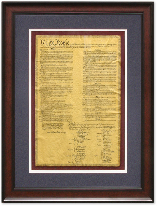 Framed and Glazed Facsimile of the United States Constitution. United States Constitution.