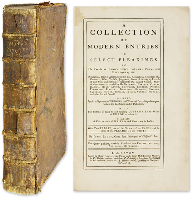 A Collection of Modern Entries: Or, Select Pleadings in the Courts. John Lilly.
