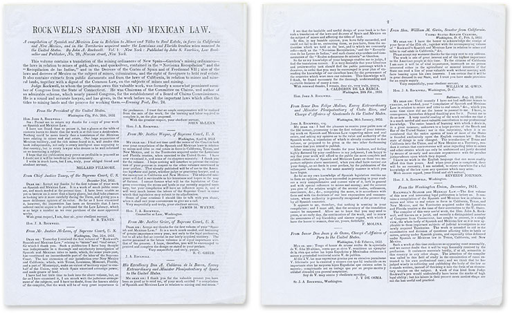 Prospectus for John A Rockwell's Compilation of Spanish and Mexican. Legal Publishing, John S. Voorhies.