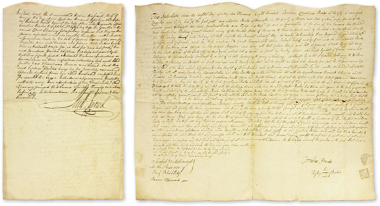 Indenture for New York City Property Signed by Mayor Richard Varick. Manuscript, New York City, Richard Varick.